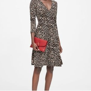 Banana Republic Leopard Print Jersey Wrap Dress XS